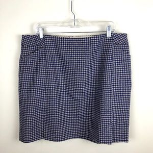 Boden Blue Houndstooth Wool Skirt British Tweed 14